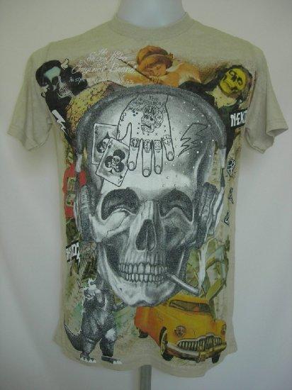 Shiroi Neko Skull Punk Tattoo Art T-Shirt Vintage Green M