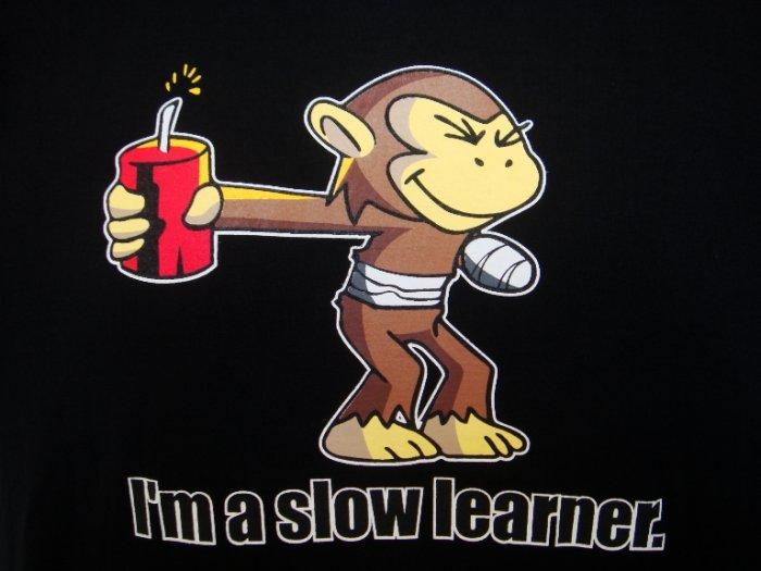 Mens Womens Slow Learner Funny Art T-Shirt Black M