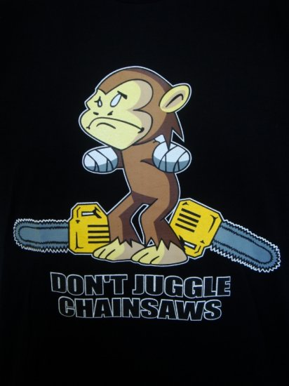 Mens Womens Chainsaw Monkey Funny T-Shirt Black L