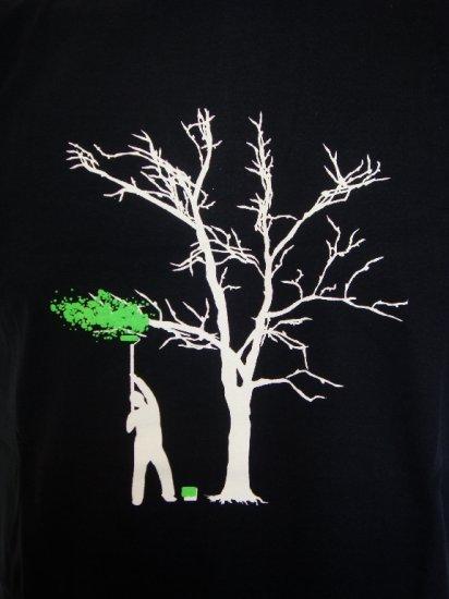 Mens Womens Tree Painter Funny Art T-Shirt Dark Blue L