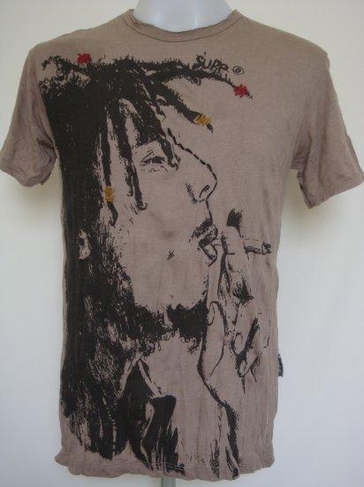 Mens Womens Bob Marley Rasta Reggae Ska Soft Top Cotton T-Shirt Brown