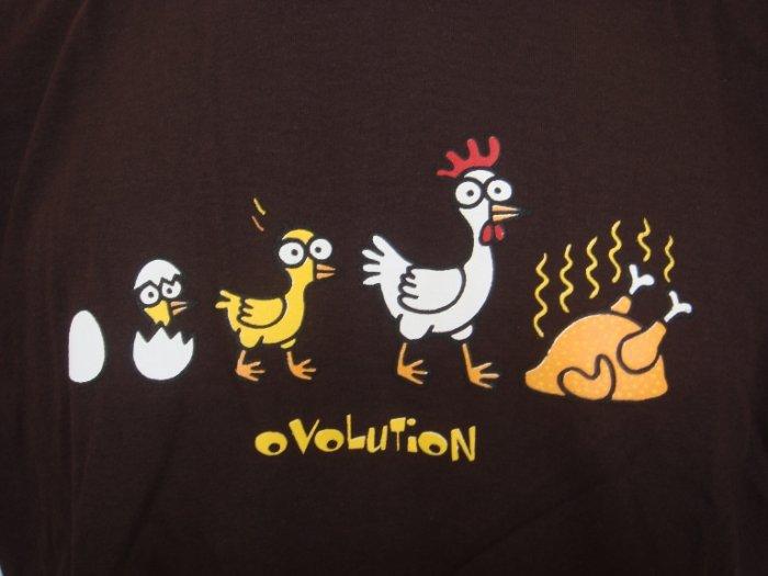 Mens Womens Chicken Evolution Funny T-Shirt Dark Brown L
