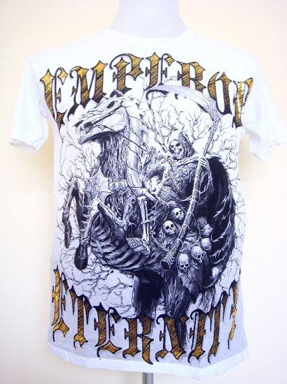 Emperor Eternity Devil Knight Reaper Horse Skull T-Shirt White Size M