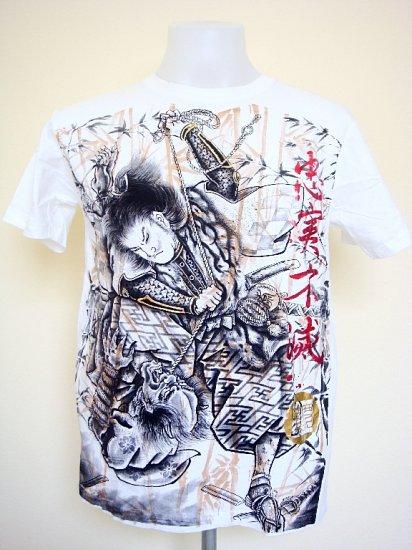 Emperor Eternity Japanese Samurai Warrior T-Shirt White Size M