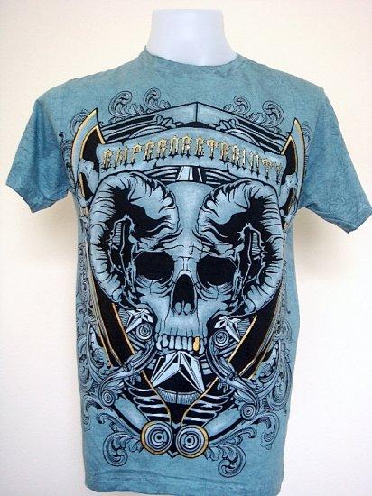Emperor Eternity Skull Punk Rock Tattoo T-Shirt Blue Size M