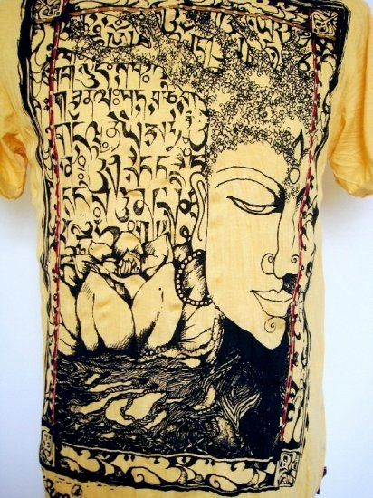 Mens Womens Funky Buddha Thai Ethnic Soft Top Cotton T-Shirt Yellow