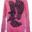 Mens Womens Eagle Urban Emo Soft Top Cotton Long Sleeve Shirt Red