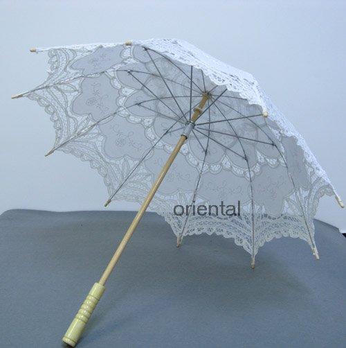 Battenburg White Lace Parasol Umbrella Wedding Bridal Shower