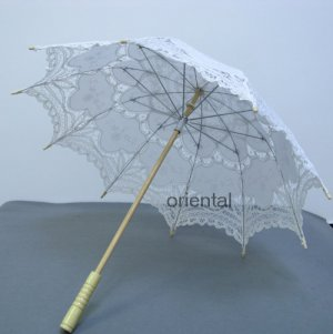 Battenburg White Lace Parasol Umbrella Wedding Bridal Shower