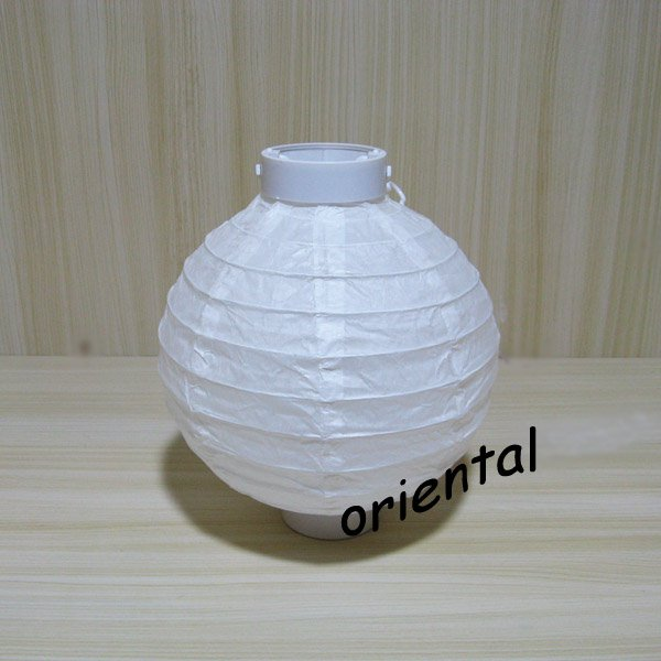 Led battery operated white paper lantern centerpiece table