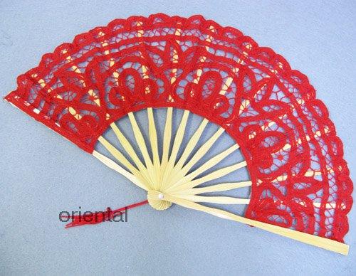 Red Victorian Battenburg Lace Hand Fan Wedding Bridal