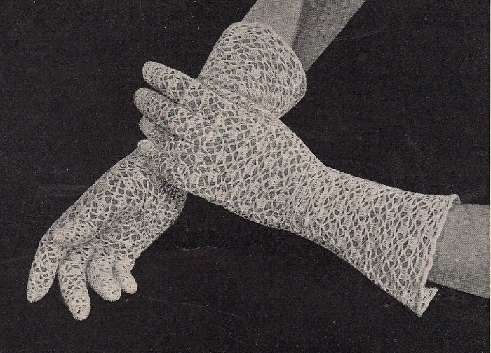 Lacy Shell Stitch Gloves Vintage Crochet Pattern