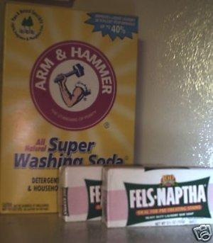 2 BOXES OF ARM & HAMMER WASHING SODA AND  4 BARS OF FELS-NAPTHA SOAP