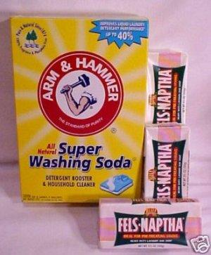 4 Arm & Hammer Super Washing Soda & 8 Fels Naptha Soap