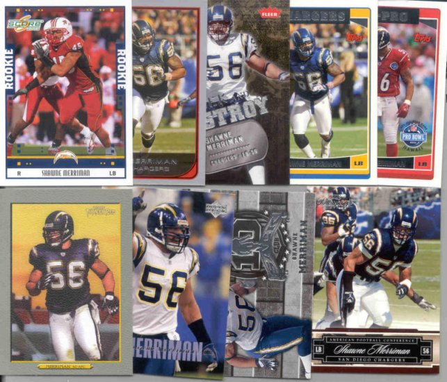 9 Different Shawne Marriman cards 05(RC)'s-07's SD Chargers