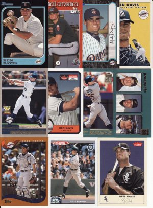 11 Different Ben Davis cards 97's-05's SD Padres, Mariners, White Sox