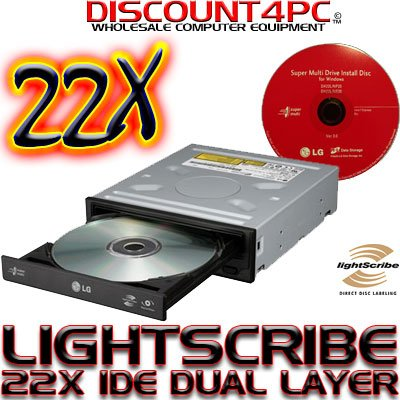 new 22x lightscribe pc internal lg ide dvdrw cd dvd rw dl