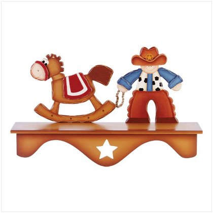 Wood Cowboy & Horse Wall Shelf