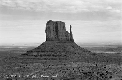 Alone in Monument Valley BW Giclee Art Print 12x16