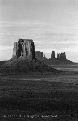 January Day Monument Valley BW Giclee Art Print 12x16