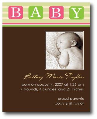 Baby Blocks Invitation/Announcement