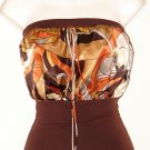 Brown Satin-Like Halter Top