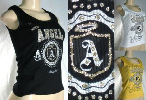 """""""Fit 4 Life"""" - Junior """"Army Girl"""" Angel Tank Tops with Glitter Seal"""