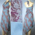 Kitty - Blue Paisley Print Halter Dresses with Bodice Detail - 1 group of 6 - from $8 each Dress