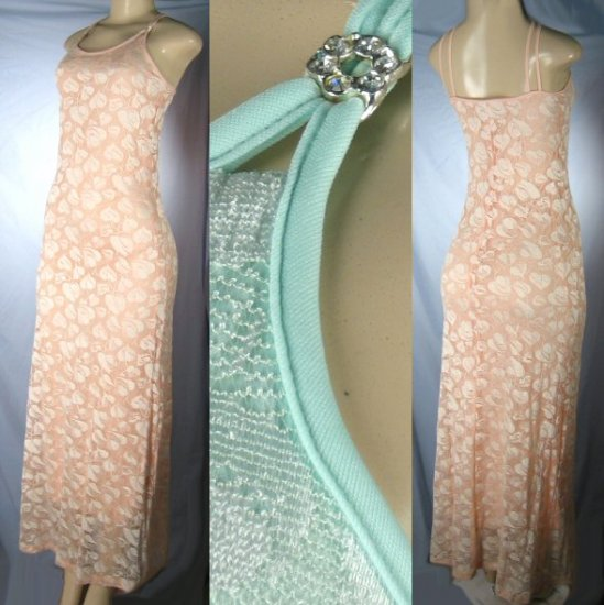 Missy Lace Evening Dresses with Rhinestone Clips and Spaghetti Straps -  from $8 each Dress