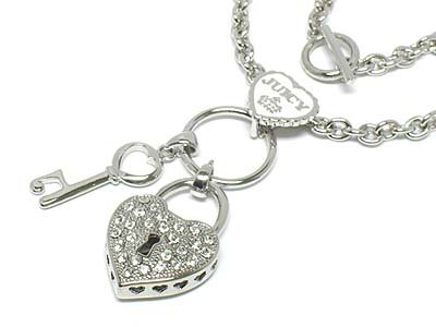 Lock & key dangle toggle necklace(R1267CL-1729)