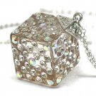 Crystal stud dice pendant necklace(U1285AB-12169)
