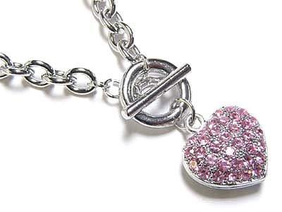 Pink crystal heart(N1223PK-22207)