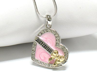 Heart and ribbon necklace(R1247PK-3471)