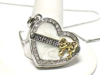 Heart and ribbon necklace(R1245WH-11673)