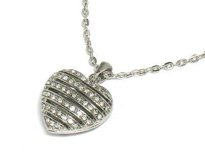 Crystal heart necklace(U1245SL-121084)