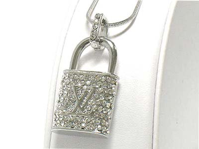 Ccrystal padlock necklace(E1270SL-121044)