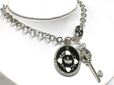Key & round pendant necklace(R1275BK-29108)