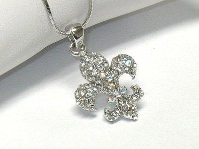 Crystal fleur de lis necklace(R1249SL-2996)
