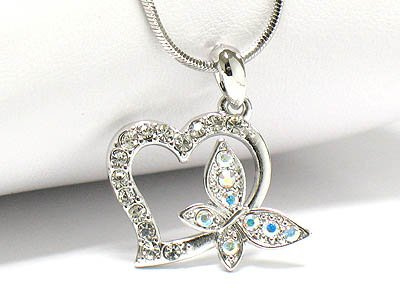 Butterfly heart necklace (R1239CL-12643)