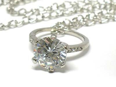 Crystal big ring pendant necklace(U1261SL-42896)