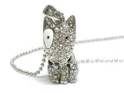Cute puppy pendant necklace (N1249SL-91583)