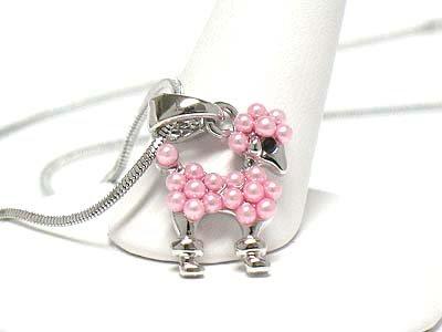 Poodle puppy necklace(R1229PK-12162)