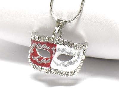 Stud dual color mask necklace(E125RD-1218127)