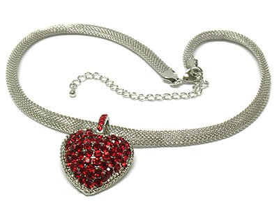 Heart mesh chain necklace(O1265RD-41752)