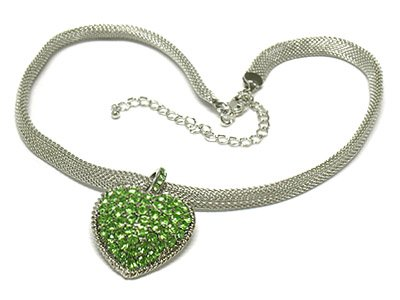 Heart mesh chain necklace(O1265GN-41751)