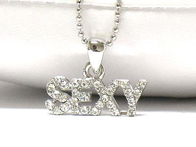 Crystal sexy letter necklace(E1237SL-12313)