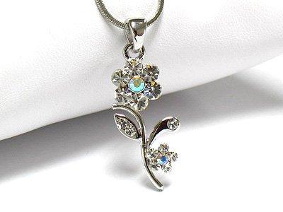 Crystal flower necklace (R1248SL-2501)
