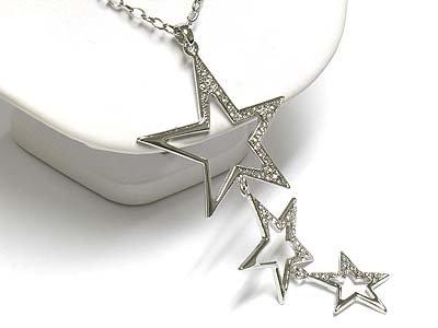 Triple star drop necklace(A1297SL-12932)