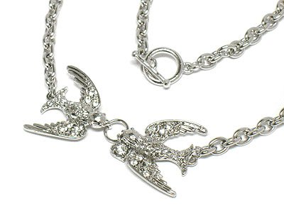 Double crystal bird necklace