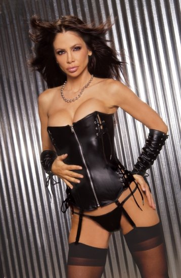 Leather zip front corset(L3108)